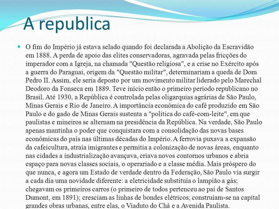 A republica O fim do Império já estava selado quando foi declarada a Abolição da Escravidão em 1888.