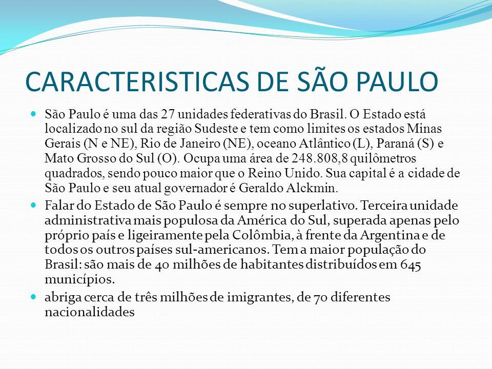 CARACTERISTICAS DE SÃO PAULO São Paulo é uma das 27 unidades federativas do Brasil.