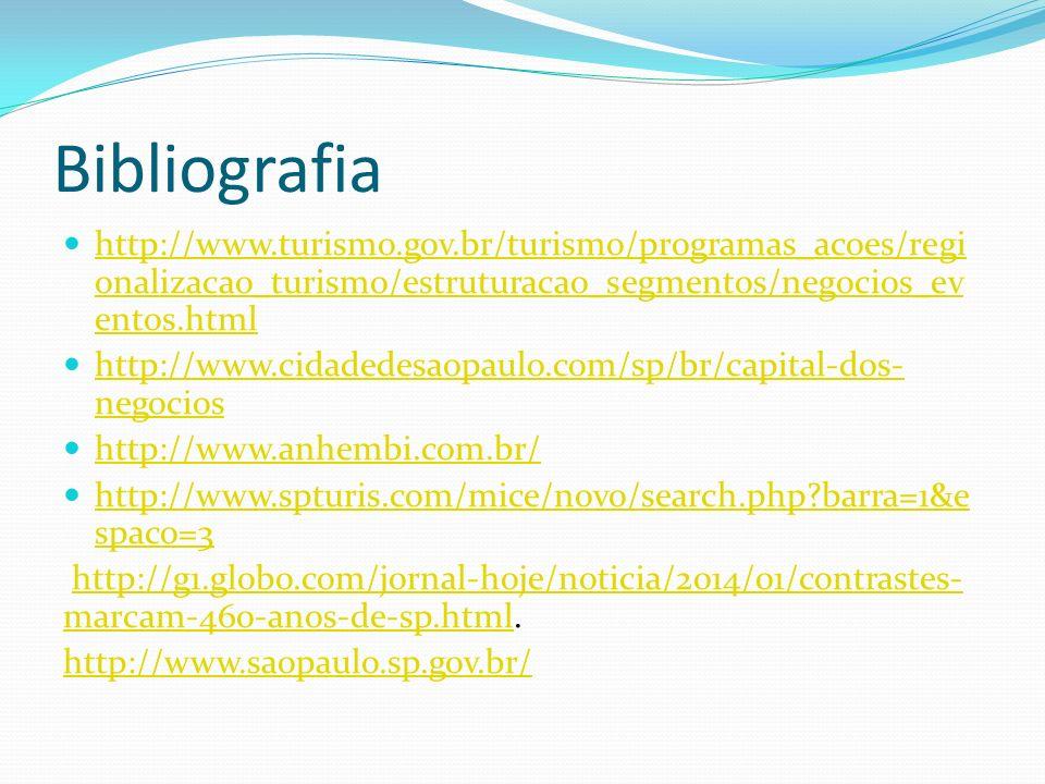 Bibliografia http://www.turismo.gov.br/turismo/programas_acoes/regi onalizacao_turismo/estruturacao_segmentos/negocios_ev entos.html http://www.turismo.gov.br/turismo/programas_acoes/regi onalizacao_turismo/estruturacao_segmentos/negocios_ev entos.html http://www.cidadedesaopaulo.com/sp/br/capital-dos- negocios http://www.cidadedesaopaulo.com/sp/br/capital-dos- negocios http://www.anhembi.com.br/ http://www.spturis.com/mice/novo/search.php?barra=1&e spaco=3 http://www.spturis.com/mice/novo/search.php?barra=1&e spaco=3 http://g1.globo.com/jornal-hoje/noticia/2014/01/contrastes- marcam-460-anos-de-sp.html.http://g1.globo.com/jornal-hoje/noticia/2014/01/contrastes- marcam-460-anos-de-sp.html http://www.saopaulo.sp.gov.br/