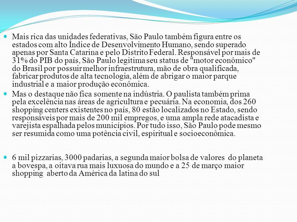 Mais rica das unidades federativas, São Paulo também figura entre os estados com alto Índice de Desenvolvimento Humano, sendo superado apenas por Santa Catarina e pelo Distrito Federal.