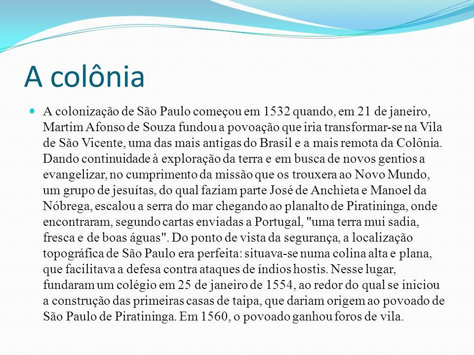 A colônia A colonização de São Paulo começou em 1532 quando, em 21 de janeiro, Martim Afonso de Souza fundou a povoação que iria transformar-se na Vila de São Vicente, uma das mais antigas do Brasil e a mais remota da Colônia.