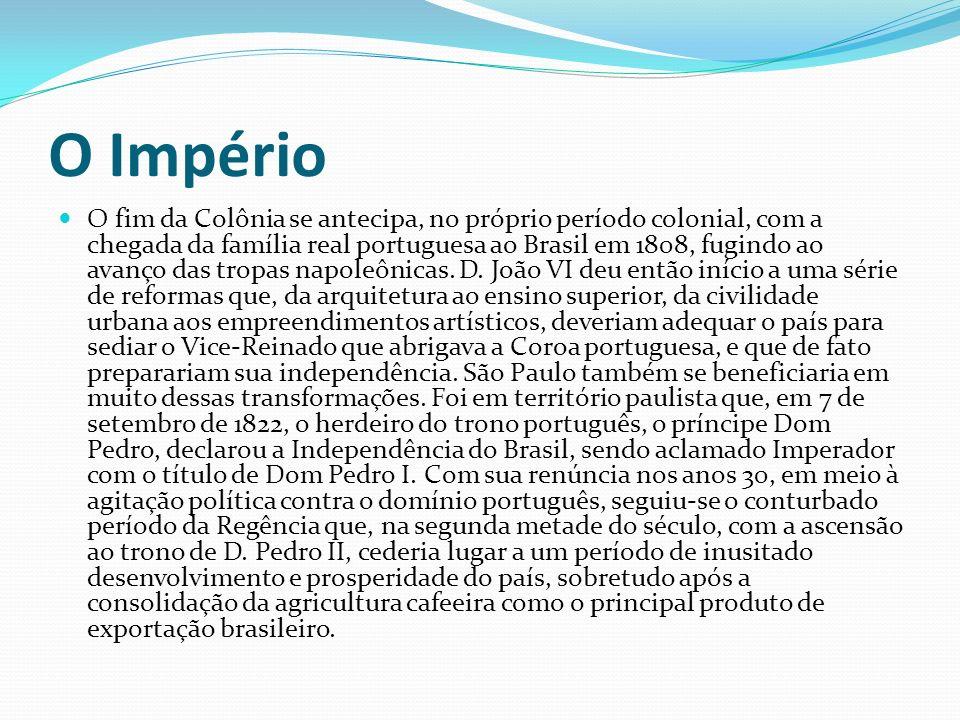 O Império O fim da Colônia se antecipa, no próprio período colonial, com a chegada da família real portuguesa ao Brasil em 1808, fugindo ao avanço das tropas napoleônicas.