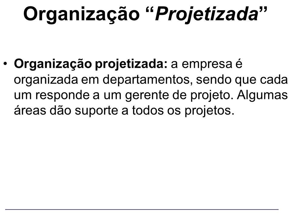 Organização Projetizada Organização projetizada: a empresa é organizada em departamentos, sendo que cada um responde a um gerente de projeto. Algumas