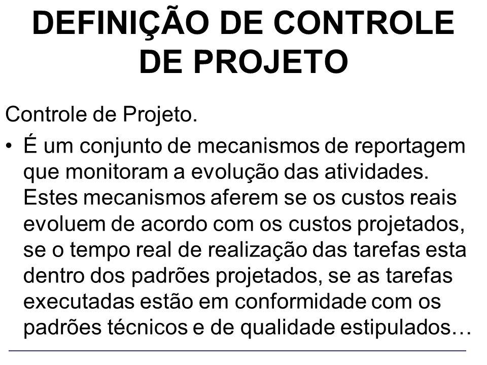 DEFINIÇÃO DE CONTROLE DE PROJETO Controle de Projeto. É um conjunto de mecanismos de reportagem que monitoram a evolução das atividades. Estes mecanis