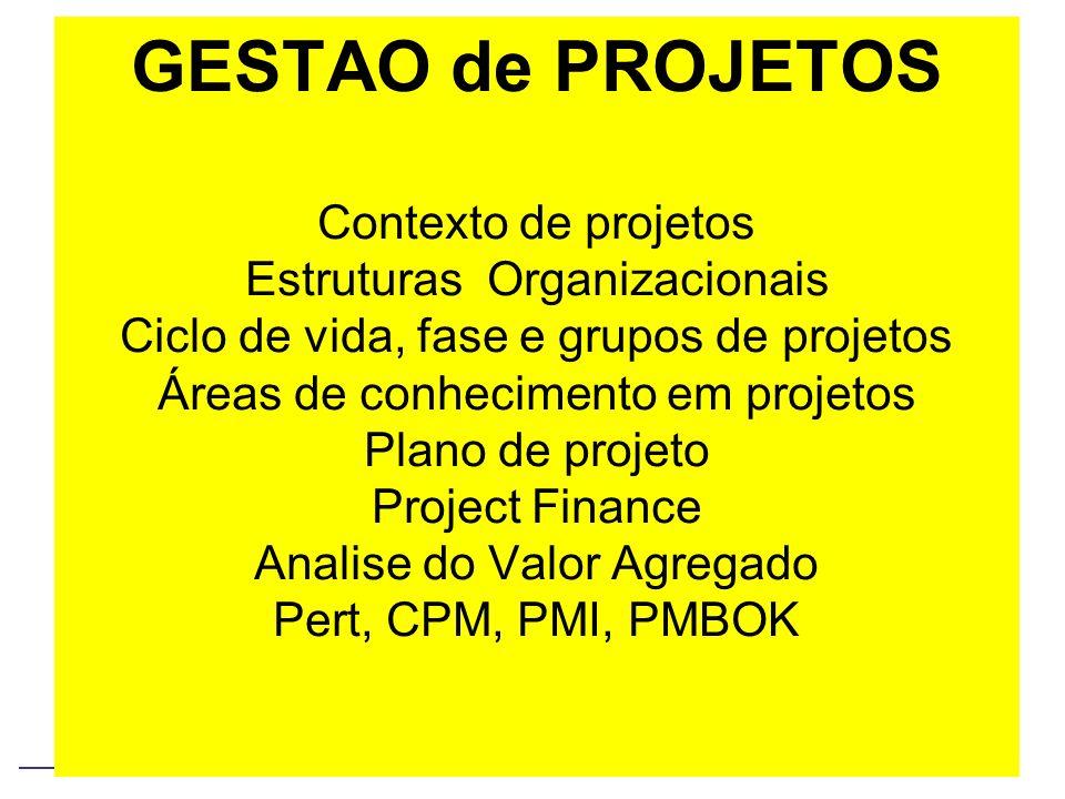 GESTAO de PROJETOS Contexto de projetos Estruturas Organizacionais Ciclo de vida, fase e grupos de projetos Áreas de conhecimento em projetos Plano de