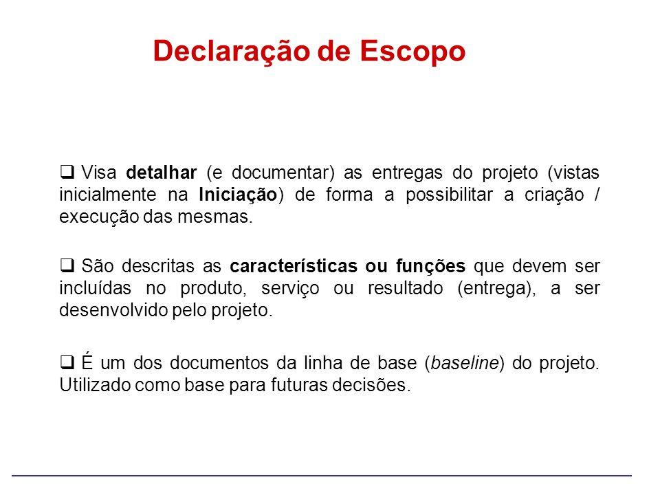 Declaração de Escopo Visa detalhar (e documentar) as entregas do projeto (vistas inicialmente na Iniciação) de forma a possibilitar a criação / execuç
