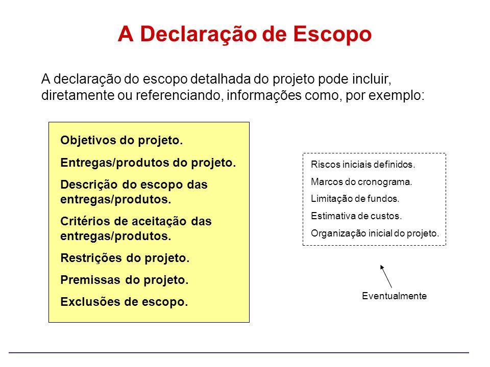A Declaração de Escopo Objetivos do projeto. Entregas/produtos do projeto. Descrição do escopo das entregas/produtos. Critérios de aceitação das entre