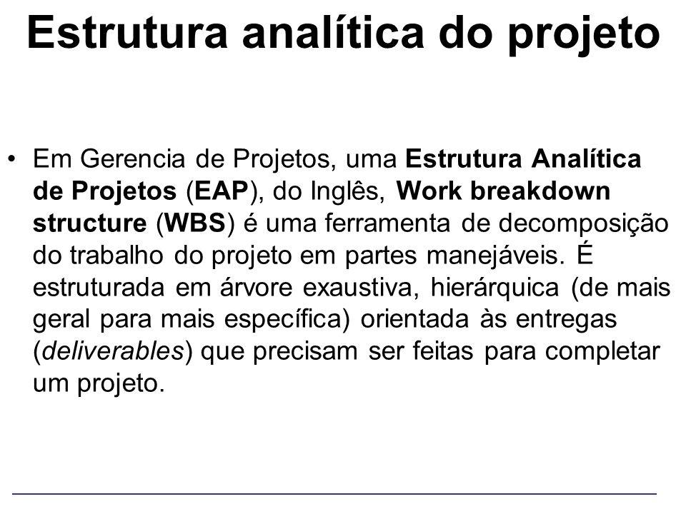 Estrutura analítica do projeto Em Gerencia de Projetos, uma Estrutura Analítica de Projetos (EAP), do Inglês, Work breakdown structure (WBS) é uma fer