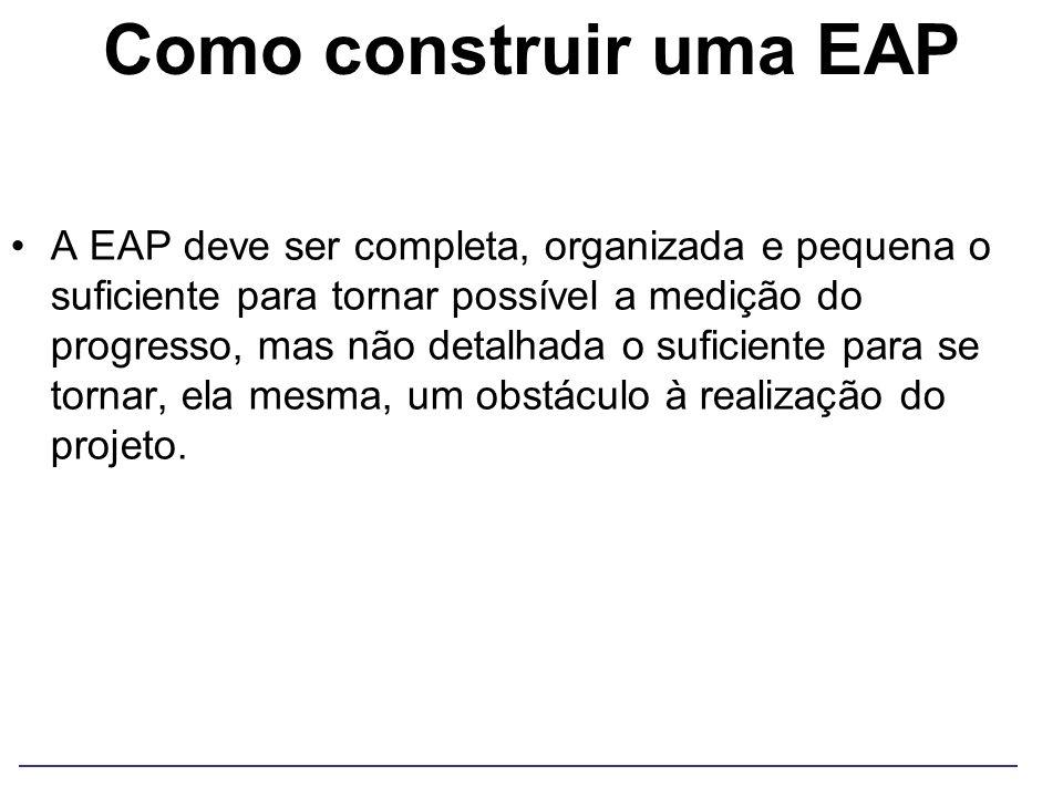 Como construir uma EAP A EAP deve ser completa, organizada e pequena o suficiente para tornar possível a medição do progresso, mas não detalhada o suf