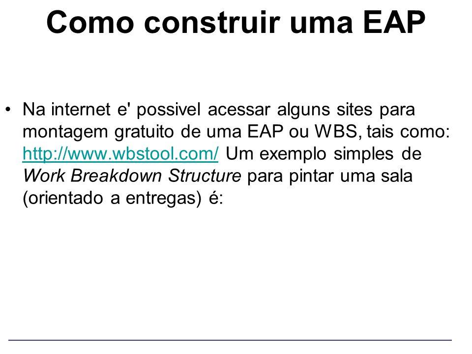 Como construir uma EAP Na internet e' possivel acessar alguns sites para montagem gratuito de uma EAP ou WBS, tais como: http://www.wbstool.com/ Um ex