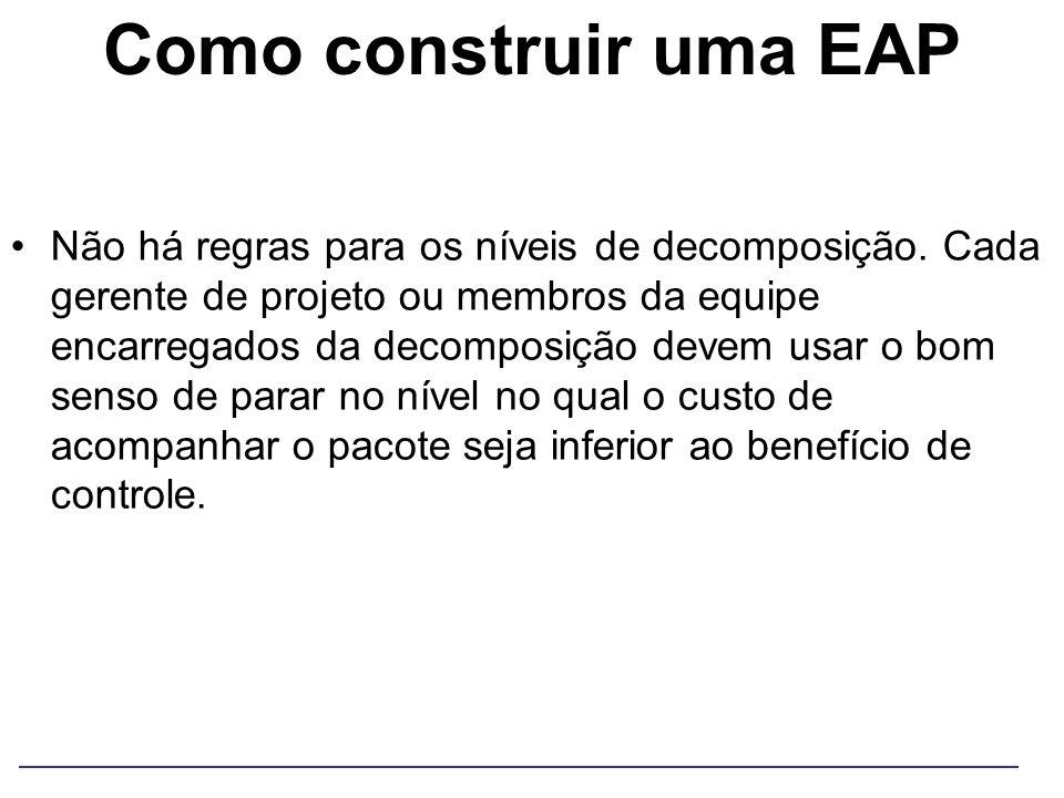 Como construir uma EAP Não há regras para os níveis de decomposição. Cada gerente de projeto ou membros da equipe encarregados da decomposição devem u
