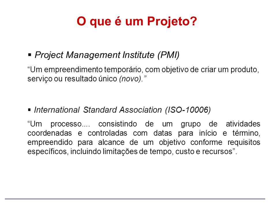 Project Management Institute (PMI) Um empreendimento temporário, com objetivo de criar um produto, serviço ou resultado único (novo). International St