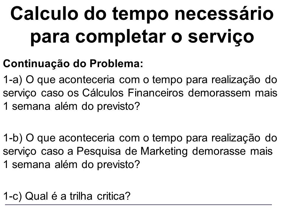 Calculo do tempo necessário para completar o serviço Continuação do Problema: 1-a) O que aconteceria com o tempo para realização do serviço caso os Cá