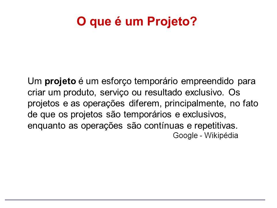 O que é um Projeto? Um projeto é um esforço temporário empreendido para criar um produto, serviço ou resultado exclusivo. Os projetos e as operações d