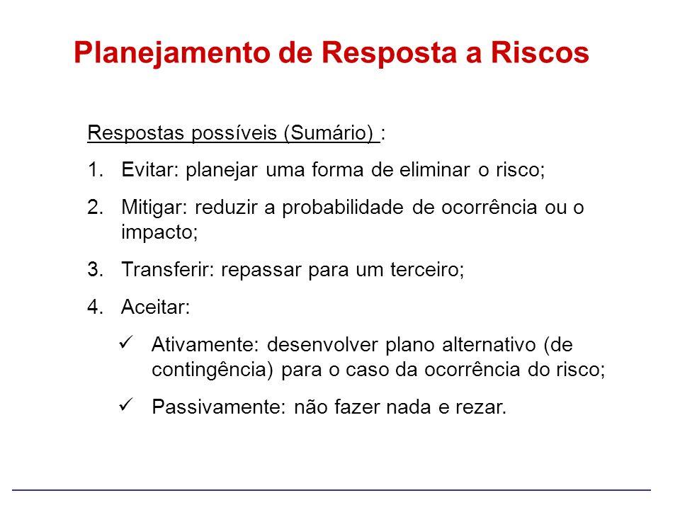 Planejamento de Resposta a Riscos Respostas possíveis (Sumário) : 1.Evitar: planejar uma forma de eliminar o risco; 2.Mitigar: reduzir a probabilidade