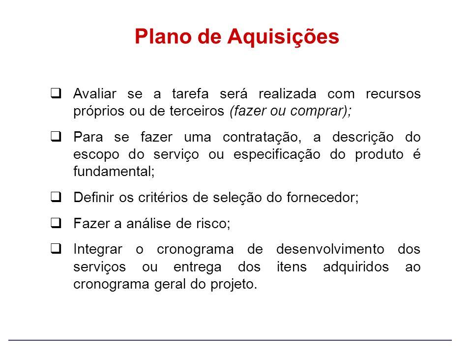 Plano de Aquisições Avaliar se a tarefa será realizada com recursos próprios ou de terceiros (fazer ou comprar); Para se fazer uma contratação, a desc