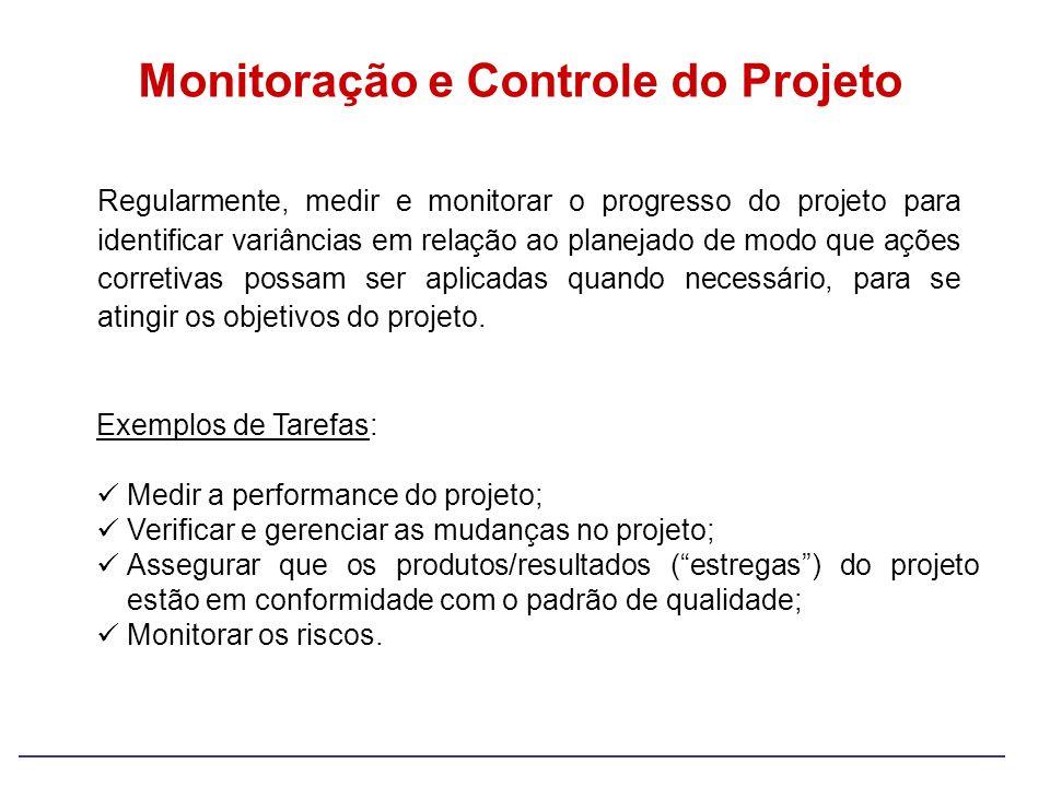 Monitoração e Controle do Projeto Regularmente, medir e monitorar o progresso do projeto para identificar variâncias em relação ao planejado de modo q