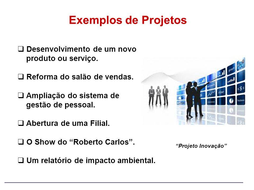 Exemplos de Projetos Desenvolvimento de um novo produto ou serviço. Reforma do salão de vendas. Ampliação do sistema de gestão de pessoal. Abertura de