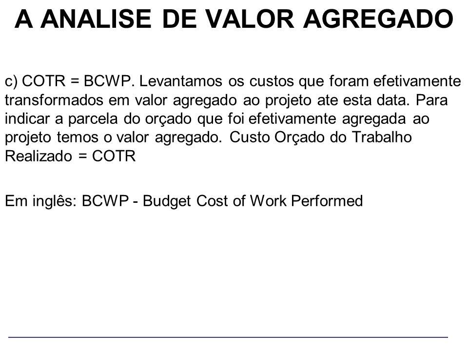 A ANALISE DE VALOR AGREGADO c) COTR = BCWP. Levantamos os custos que foram efetivamente transformados em valor agregado ao projeto ate esta data. Para