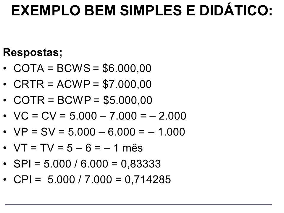 Respostas; COTA = BCWS = $6.000,00 CRTR = ACWP = $7.000,00 COTR = BCWP = $5.000,00 VC = CV = 5.000 – 7.000 = – 2.000 VP = SV = 5.000 – 6.000 = – 1.000