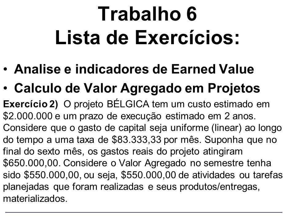 Trabalho 6 Lista de Exercícios: Analise e indicadores de Earned Value Calculo de Valor Agregado em Projetos Exercício 2) O projeto BÉLGICA tem um cust