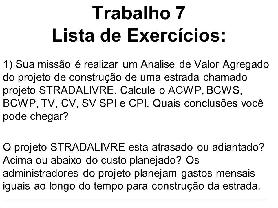 Trabalho 7 Lista de Exercícios: 1) Sua missão é realizar um Analise de Valor Agregado do projeto de construção de uma estrada chamado projeto STRADALI