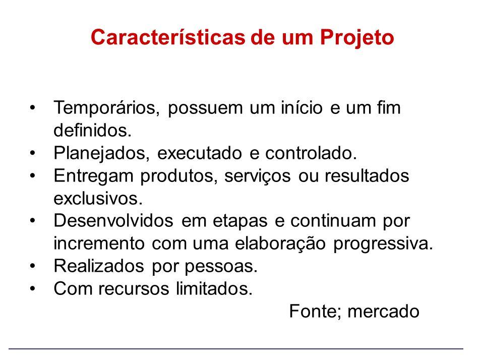 Características de um Projeto Temporários, possuem um início e um fim definidos. Planejados, executado e controlado. Entregam produtos, serviços ou re