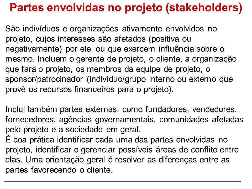 Partes envolvidas no projeto (stakeholders) São indivíduos e organizações ativamente envolvidos no projeto, cujos interesses são afetados (positiva ou