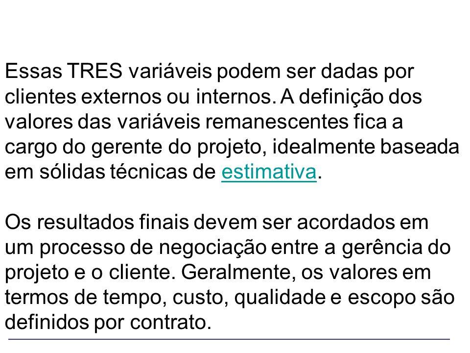 Essas TRES variáveis podem ser dadas por clientes externos ou internos. A definição dos valores das variáveis remanescentes fica a cargo do gerente do