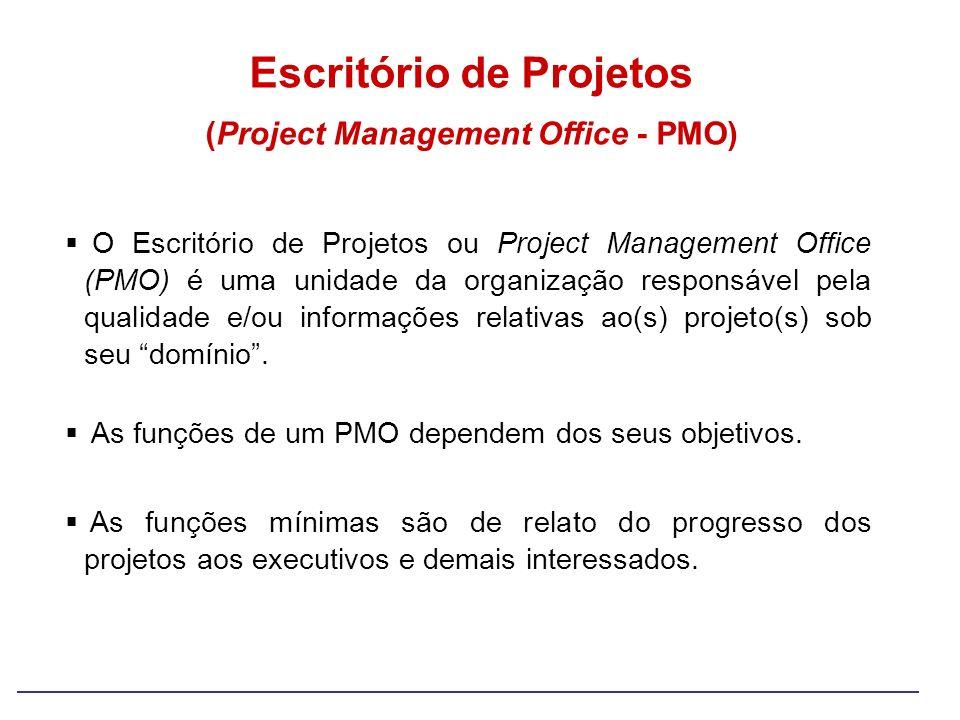 O Escritório de Projetos ou Project Management Office (PMO) é uma unidade da organização responsável pela qualidade e/ou informações relativas ao(s) p