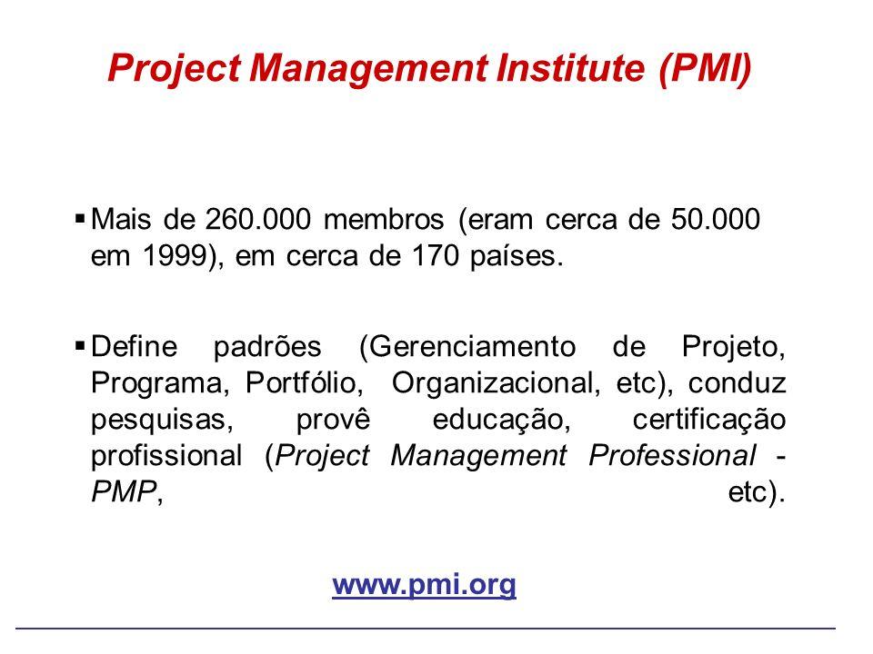 Project Management Institute (PMI) Mais de 260.000 membros (eram cerca de 50.000 em 1999), em cerca de 170 países. Define padrões (Gerenciamento de Pr