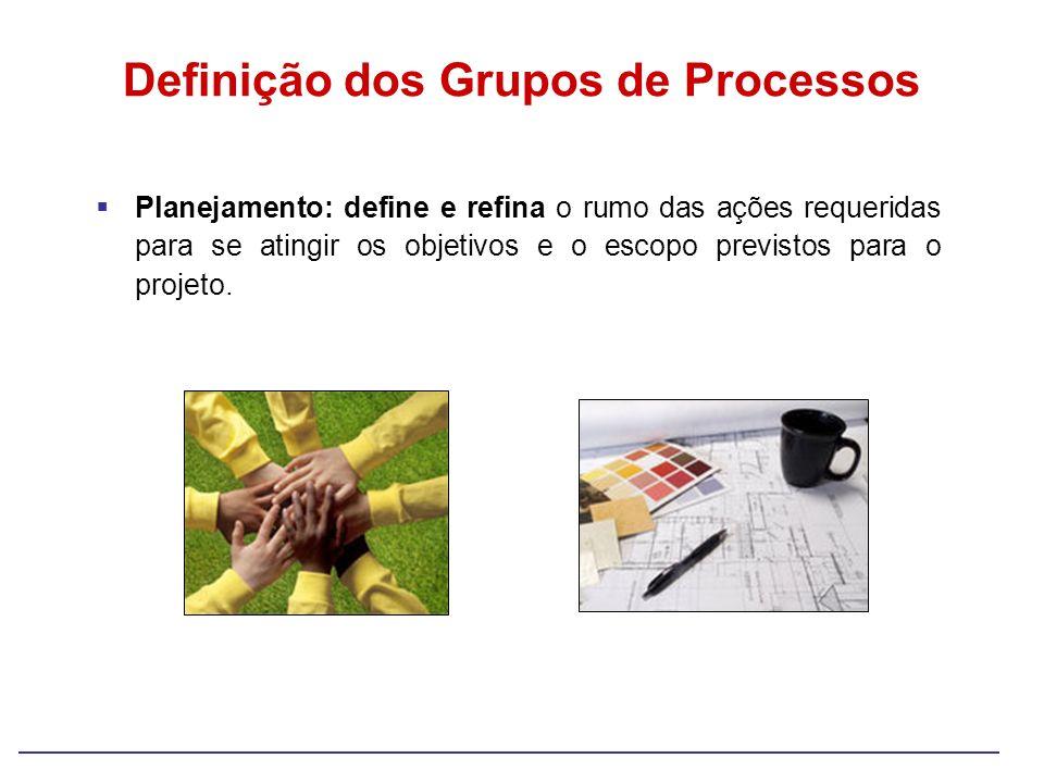 Planejamento: define e refina o rumo das ações requeridas para se atingir os objetivos e o escopo previstos para o projeto. Definição dos Grupos de Pr