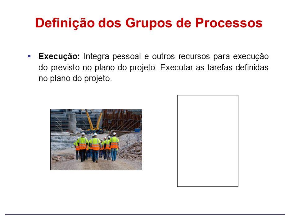 Execução: Integra pessoal e outros recursos para execução do previsto no plano do projeto. Executar as tarefas definidas no plano do projeto. Definiçã