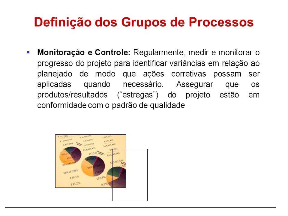 Monitoração e Controle: Regularmente, medir e monitorar o progresso do projeto para identificar variâncias em relação ao planejado de modo que ações c