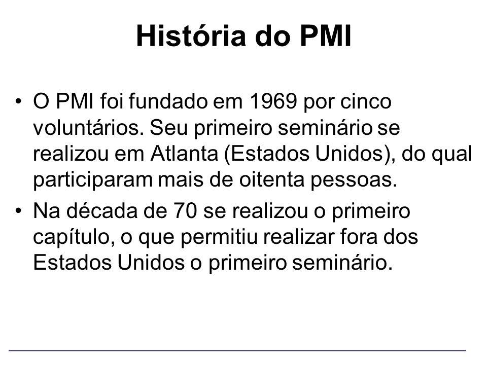 História do PMI O PMI foi fundado em 1969 por cinco voluntários. Seu primeiro seminário se realizou em Atlanta (Estados Unidos), do qual participaram