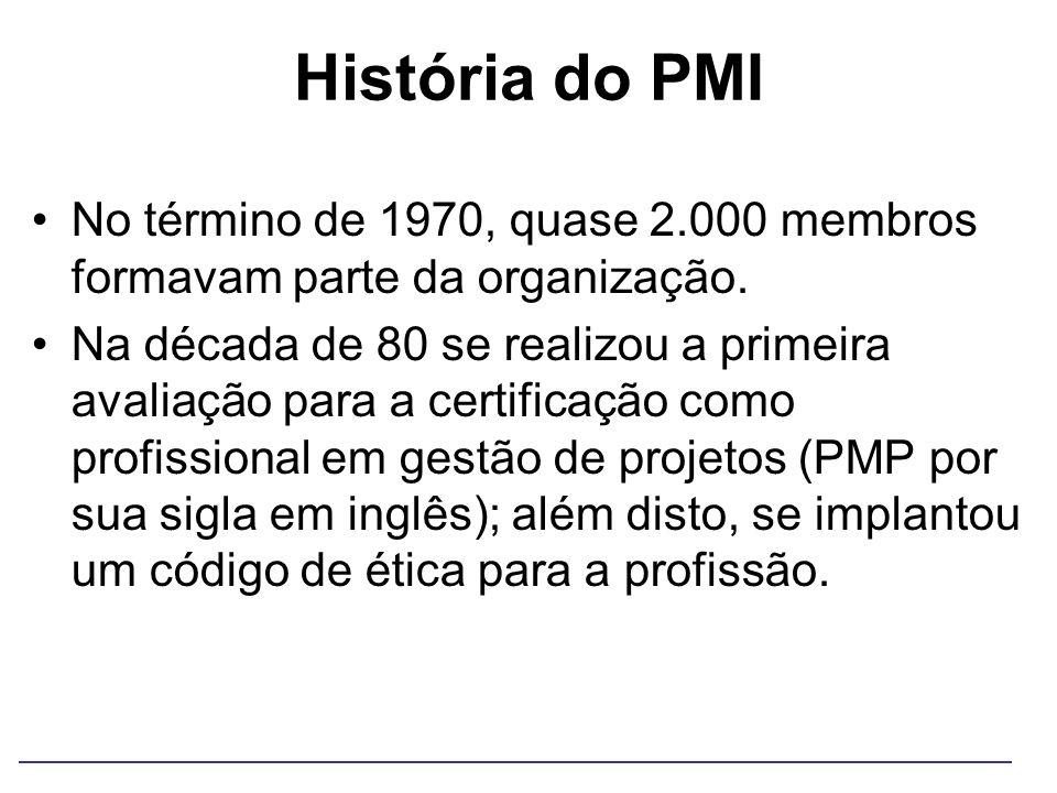 História do PMI No término de 1970, quase 2.000 membros formavam parte da organização. Na década de 80 se realizou a primeira avaliação para a certifi