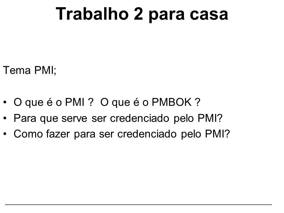 Trabalho 2 para casa Tema PMI; O que é o PMI ? O que é o PMBOK ? Para que serve ser credenciado pelo PMI? Como fazer para ser credenciado pelo PMI?