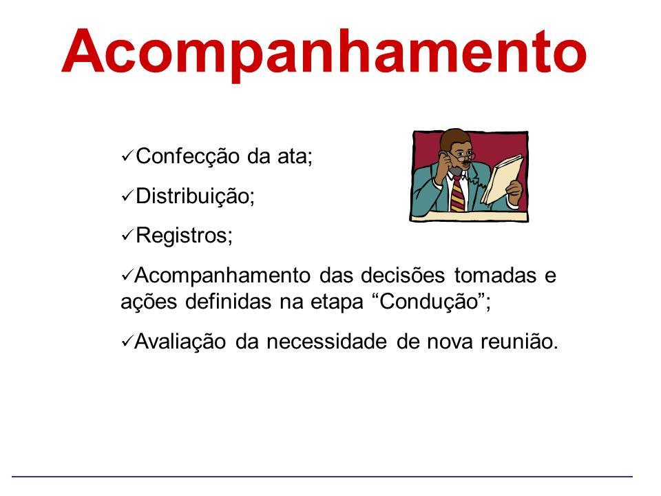 Acompanhamento Confecção da ata; Distribuição; Registros; Acompanhamento das decisões tomadas e ações definidas na etapa Condução; Avaliação da necess
