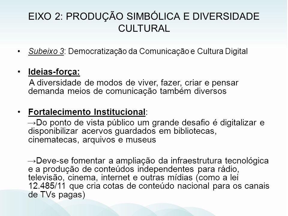 Subeixo 3: Democratização da Comunicação e Cultura Digital Ideias-força: A diversidade de modos de viver, fazer, criar e pensar demanda meios de comun