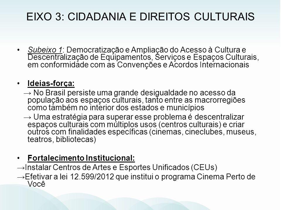 Subeixo 1: Democratização e Ampliação do Acesso à Cultura e Descentralização de Equipamentos, Serviços e Espaços Culturais, em conformidade com as Con