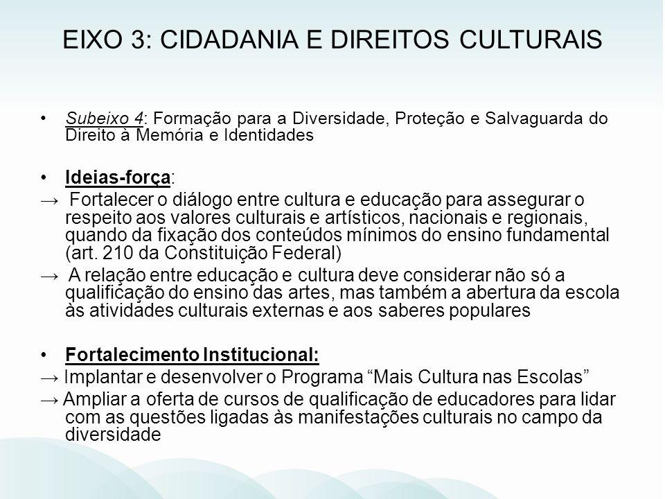 Subeixo 4: Formação para a Diversidade, Proteção e Salvaguarda do Direito à Memória e Identidades Ideias-força: Fortalecer o diálogo entre cultura e e