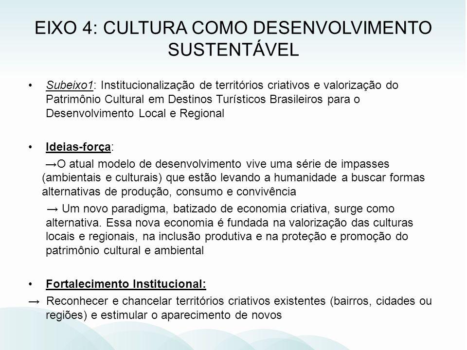 Subeixo1: Institucionalização de territórios criativos e valorização do Patrimônio Cultural em Destinos Turísticos Brasileiros para o Desenvolvimento