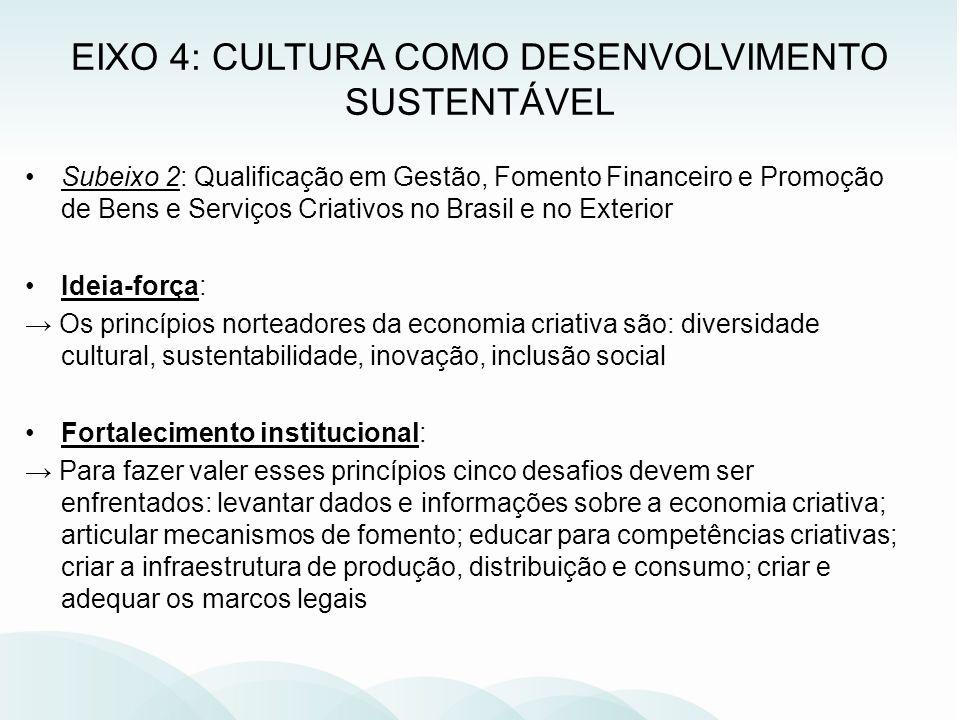Subeixo 2: Qualificação em Gestão, Fomento Financeiro e Promoção de Bens e Serviços Criativos no Brasil e no Exterior Ideia-força: Os princípios norte