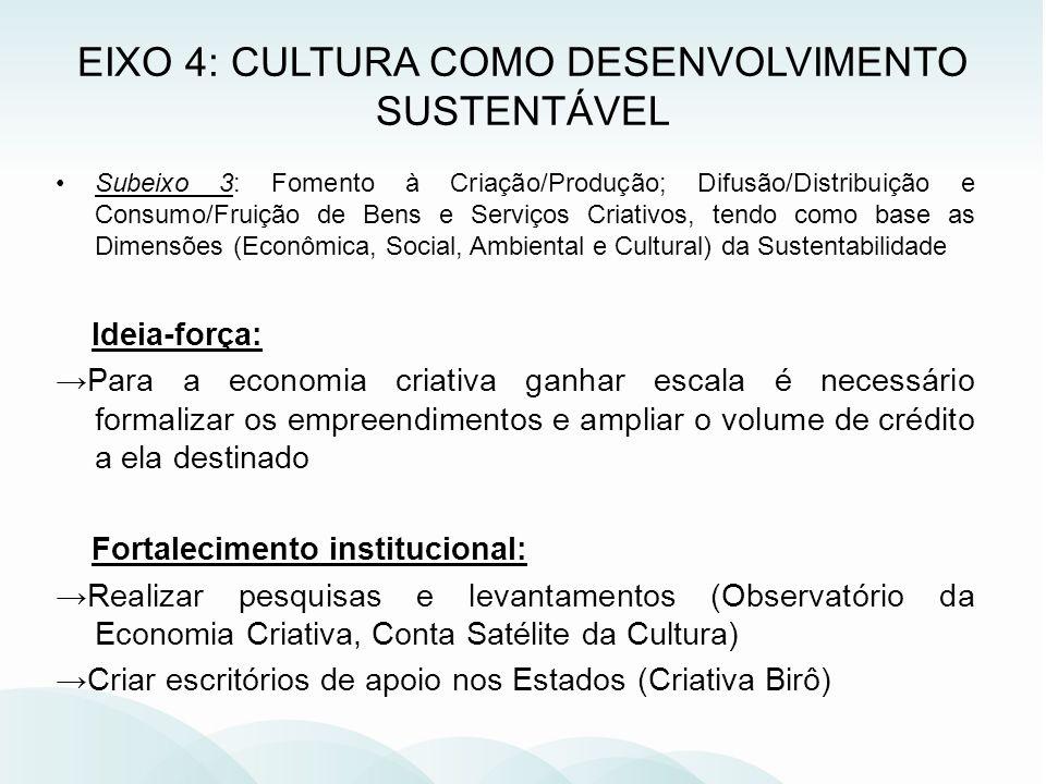 Subeixo 3: Fomento à Criação/Produção; Difusão/Distribuição e Consumo/Fruição de Bens e Serviços Criativos, tendo como base as Dimensões (Econômica, S