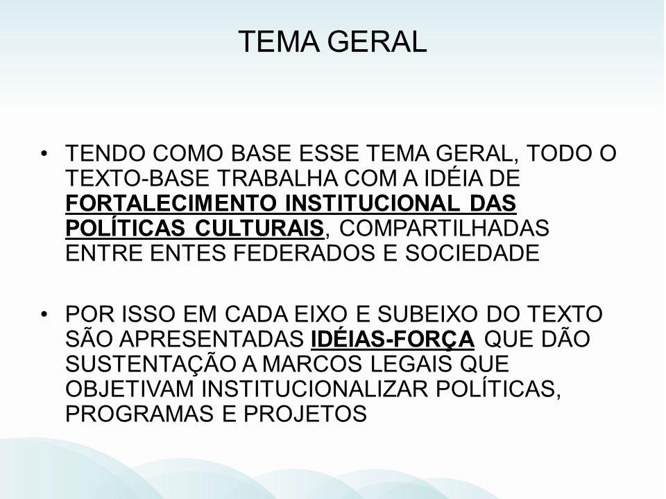 TENDO COMO BASE ESSE TEMA GERAL, TODO O TEXTO-BASE TRABALHA COM A IDÉIA DE FORTALECIMENTO INSTITUCIONAL DAS POLÍTICAS CULTURAIS, COMPARTILHADAS ENTRE