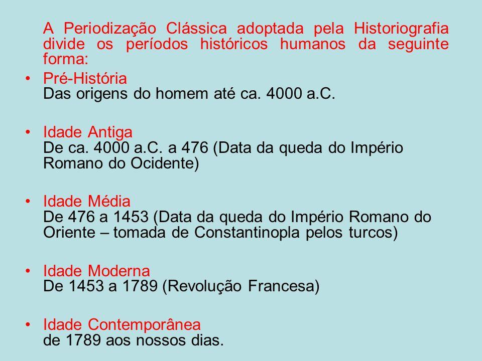 A Periodização Clássica adoptada pela Historiografia divide os períodos históricos humanos da seguinte forma: Pré-História Das origens do homem até ca