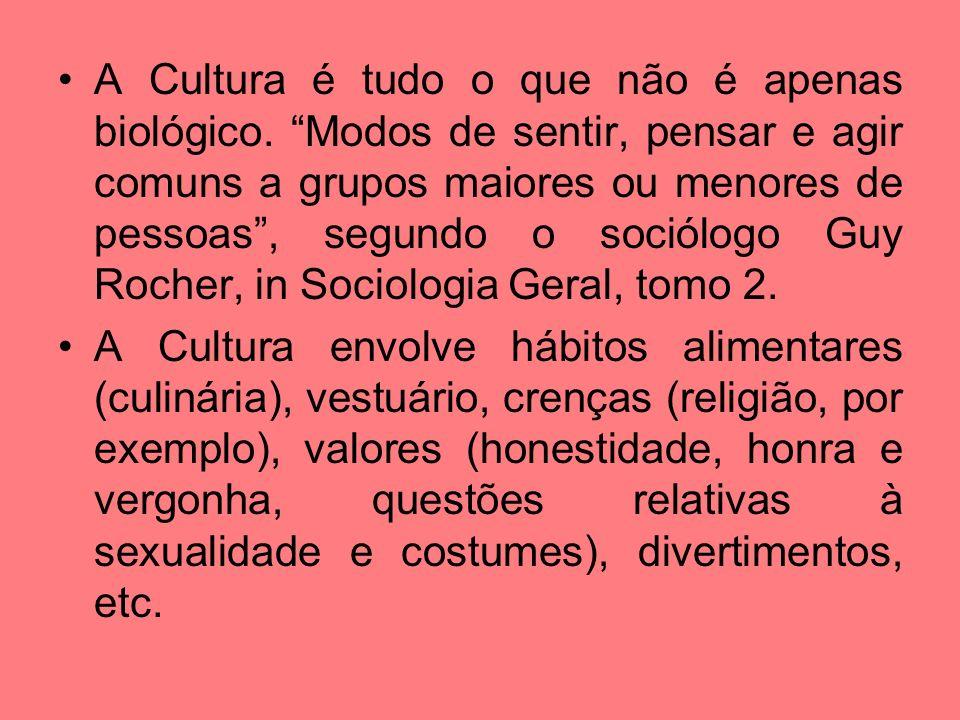 A Cultura é tudo o que não é apenas biológico. Modos de sentir, pensar e agir comuns a grupos maiores ou menores de pessoas, segundo o sociólogo Guy R