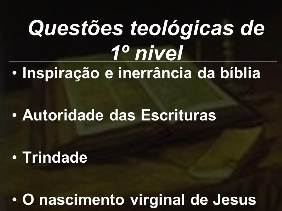 Inspiração e inerrância da bíblia Autoridade das Escrituras Trindade O nascimento virginal de Jesus Questões teológicas de 1º nivel