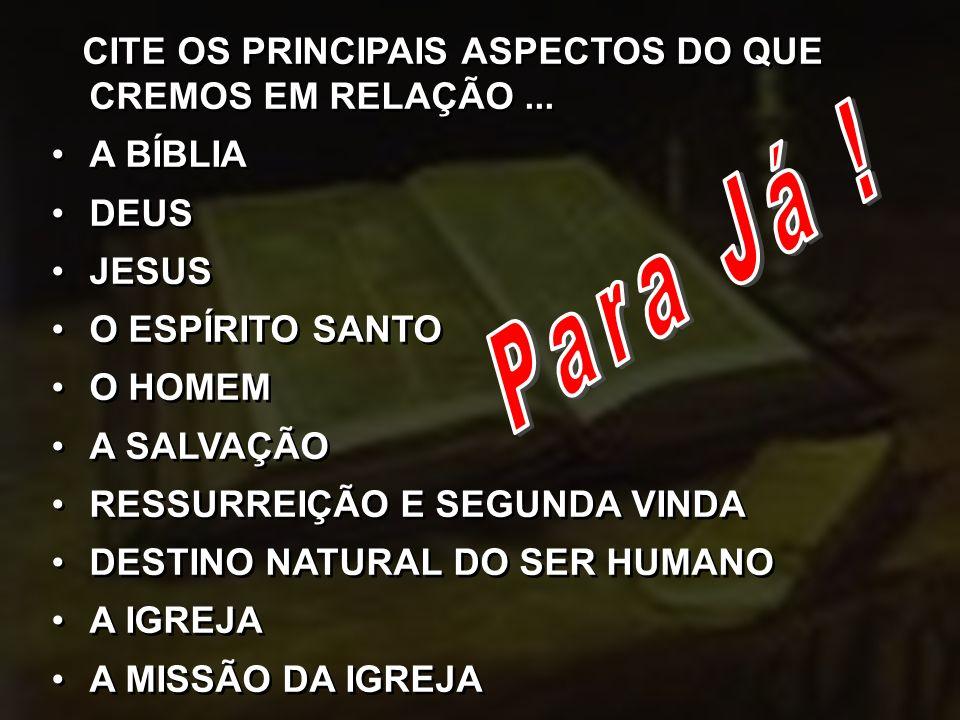 CITE OS PRINCIPAIS ASPECTOS DO QUE CREMOS EM RELAÇÃO...
