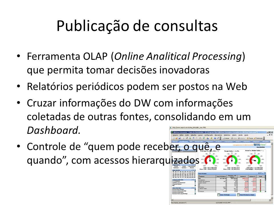 Publicação de consultas Ferramenta OLAP (Online Analitical Processing) que permita tomar decisões inovadoras Relatórios periódicos podem ser postos na Web Cruzar informações do DW com informações coletadas de outras fontes, consolidando em um Dashboard.